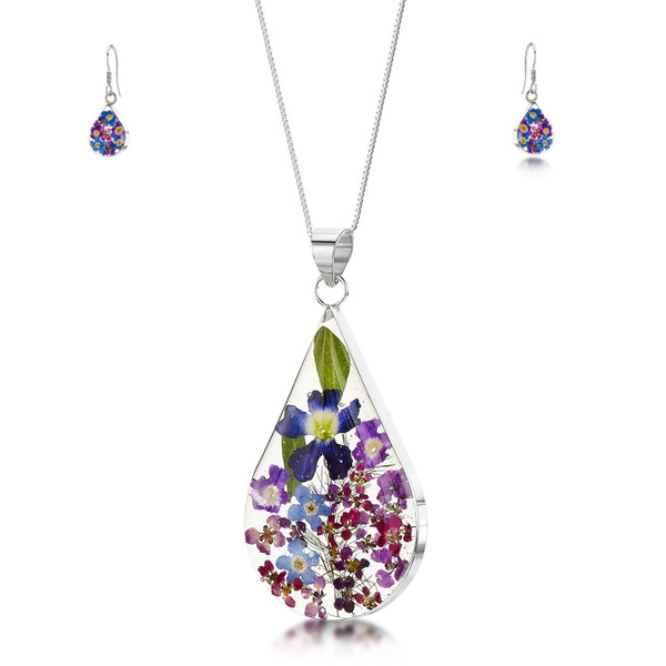 925 Silver Pendant & Drop Earring Set - Real Flower - Large Teardrop