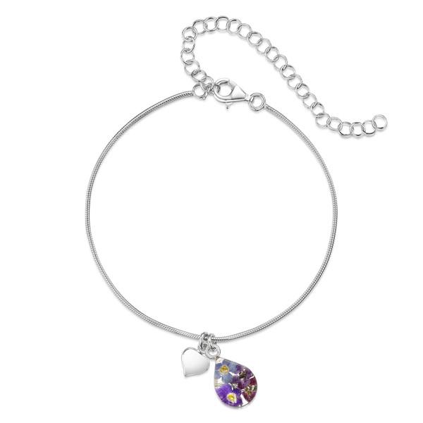925 Silver snake anklet/bracelet - Real Flower - Teardrop