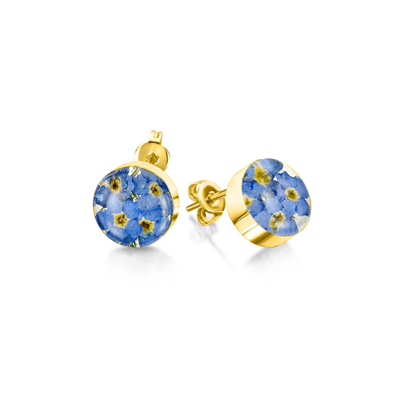 23K Gold Plated Sterling Silver Stud Earrings - Real Flower