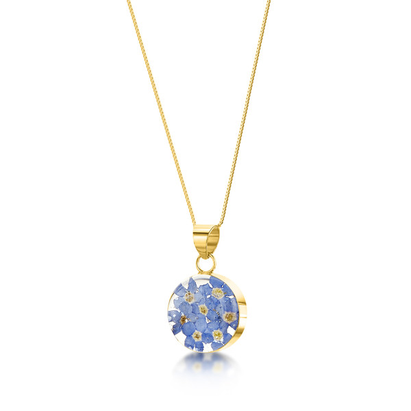 23K Gold Plated Sterling Silver Round Necklace - Real Flower