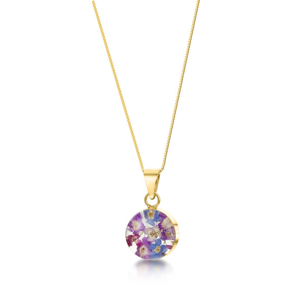 23K Gold Plated Sterling Silver Round Purple Haze Necklace - Real Flower