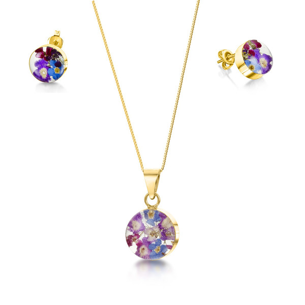 23K Gold Plated Sterling Silver Round Purple Haze Necklace and Earring set- Real Flower