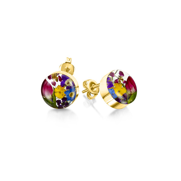 23K Gold Plated Sterling Silver Round Stud Earrings - Real Flower