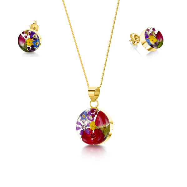 23K Gold Plated Sterling Silver Round Necklace and Earring set - Mixed Real Flower