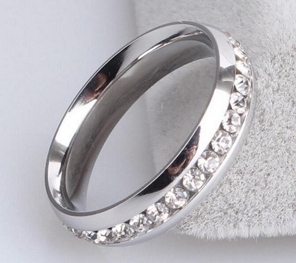 Silver Plated Comfortable Zircon Stainless Steel Rings 5mm Width