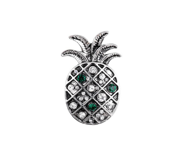 Antique silver diamante pineapple brooch