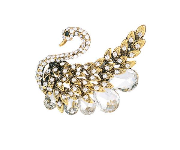 Crystal swan brooch