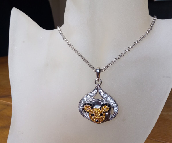 Silver Plated Noosa Heart Pendant Necklace with Bear Snap Button with gift box