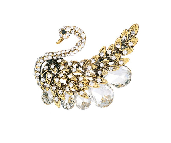 Crystal swan brooch with gift box