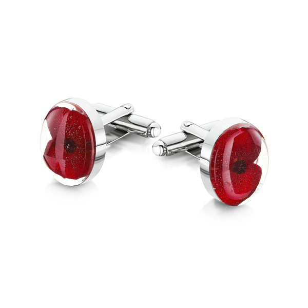 925 Silver Plated Cufflinks - Poppy - Oval