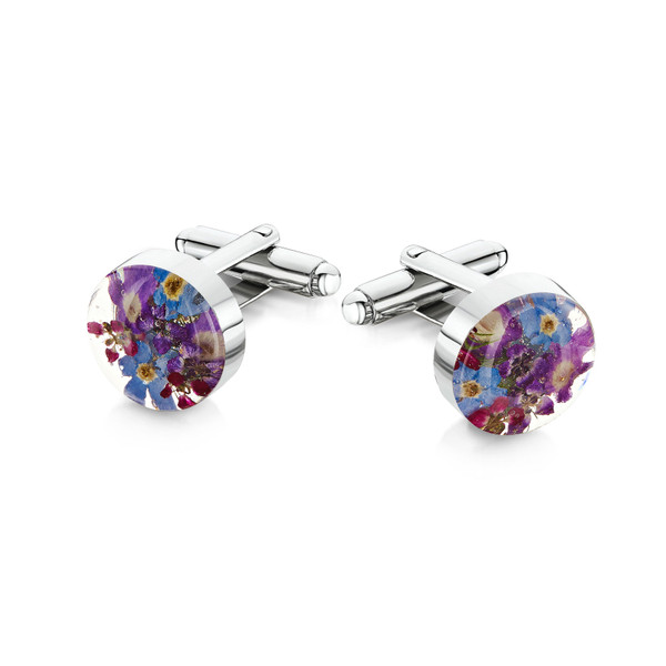925 Silver Plated Cufflinks - Purple haze - Oval