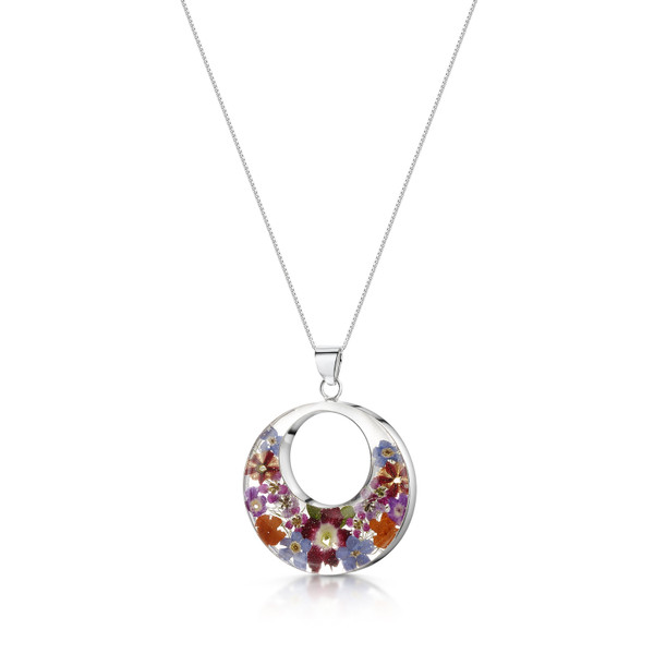 925 Silver Pendant - Mixed flower - Double Round