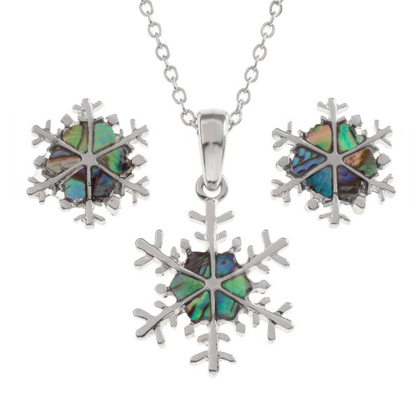 Tide Jewellery inlaid Paua shell snowflake pendant and earring set