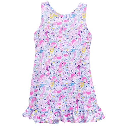 Kids' summer dress with A-line shape and mermaid print