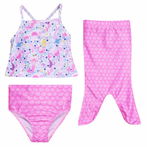 A 3 piece swim suit with Mermaid pattern and matching Mermaid tail skirt