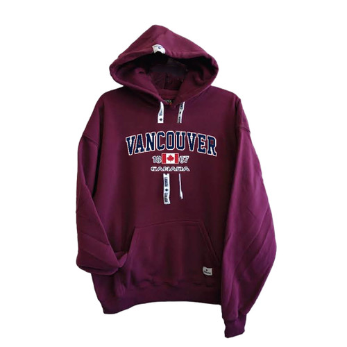 Adult Pullover Hoody - Vancouver Canada lettering, maroon