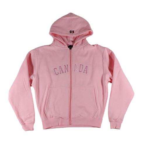 Youth zip hoodie with Canada logo, pink