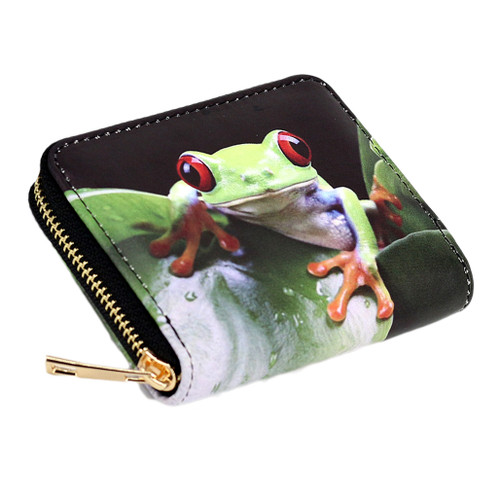Small  zippered wallet with picture of red-eyed tree frog