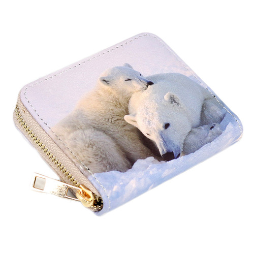 Zippered wallet, small size, with Polar bear picture