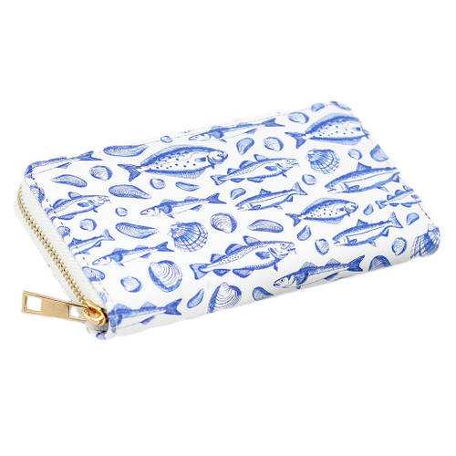 Zippered wallet, large size, with ocean wise pattern