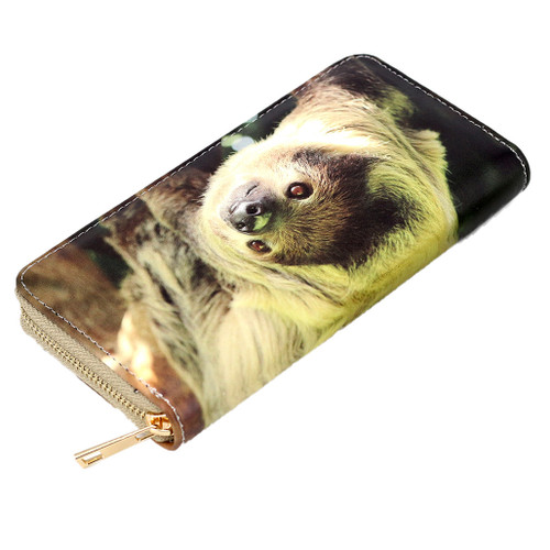 Zippered wallet, large size, with picture of a sloth
