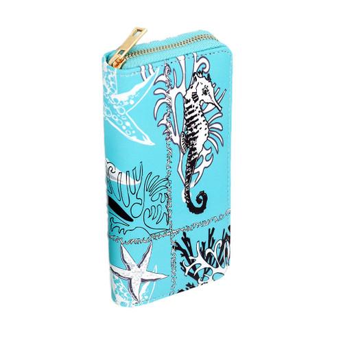 Light Blue Seahorse wallet - large