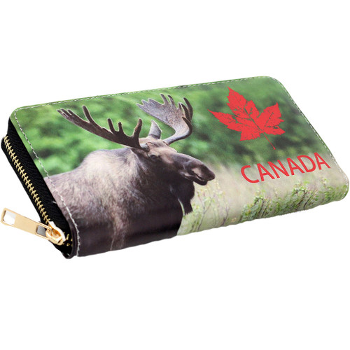 Zippered wallet with picture of moose and maple leaf, large