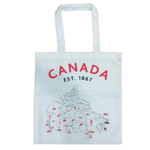 Map of Canada Cotton Tote Bag