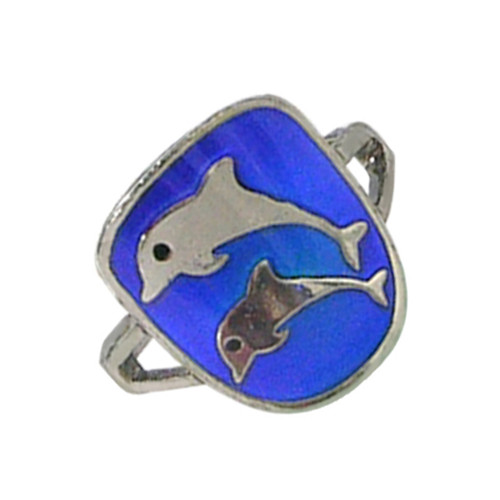 Mood Ring, double dolphins on blue background