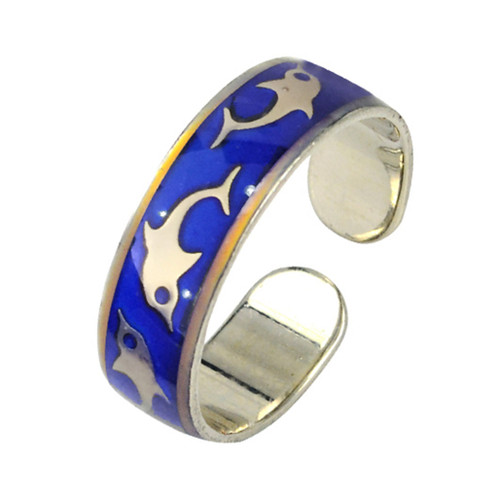 Mood Ring, dolphins, cuff style ring