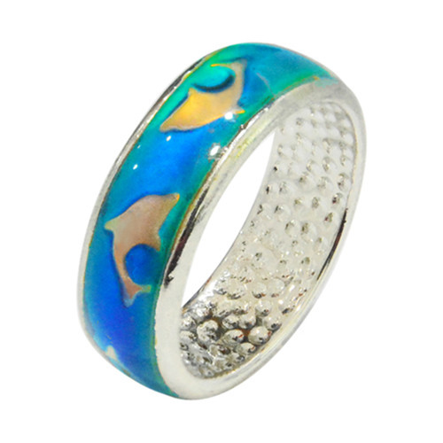 Mood Ring, Dolphins, band with light blue background