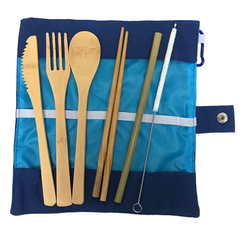 Set of Bamboo cutlery for travel - knife, fork, spook, chopsticks, straw and brush with a travel bag.