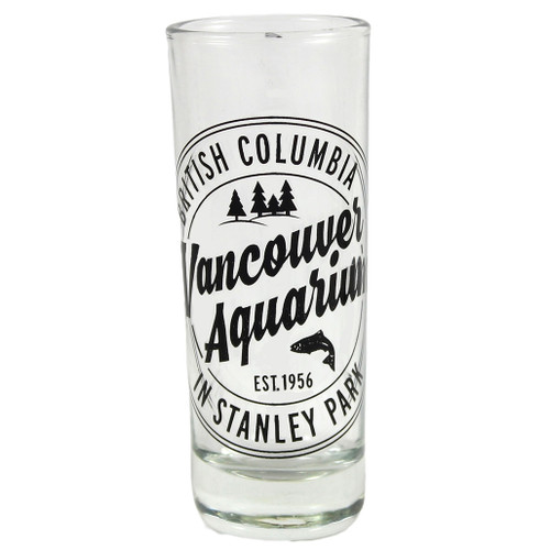 shot glass with Vancouver Aquarium logo and salmon jumping