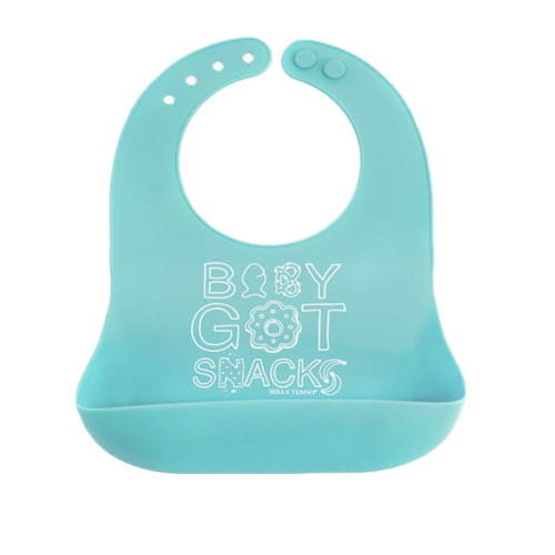 Baby's bib with wording 'Baby got Snacks'