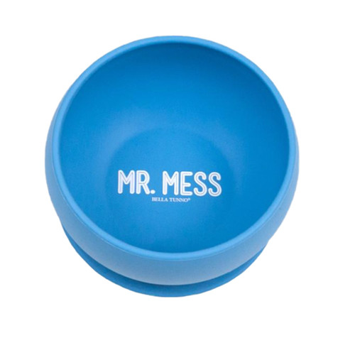 "Baby bowl with wording ""Mr. Mess"""