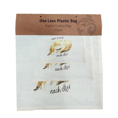 Cotton produce bag with 2 sea otters, set of 3