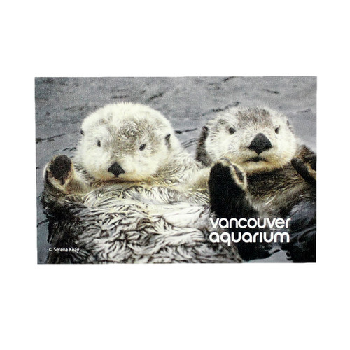 Two Sea Otters magnet, rectangle