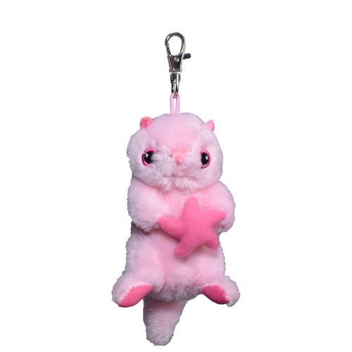 Pink sea otter stuffy, backpack clip / key ring