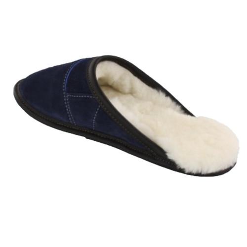 Women's sheepskin slippers, mule style, navy