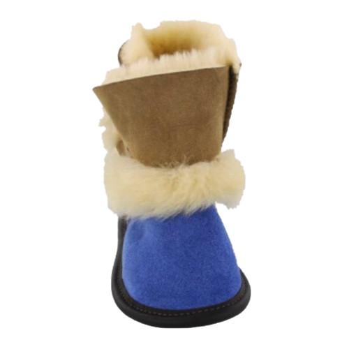 Kids Sheepskin slippers, Garneau Playmate style, blue/brown