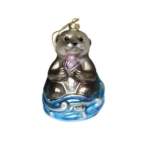 Sea Otter glass ornament
