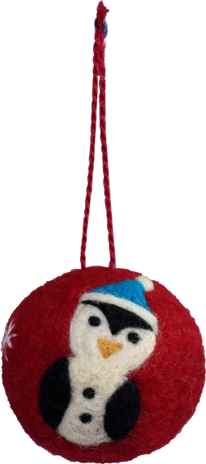 wool felted penguin ornament