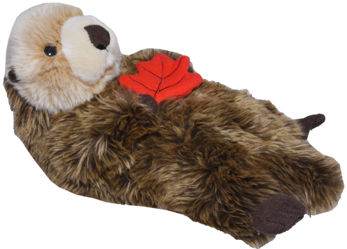 floating sea otter with maple leaf