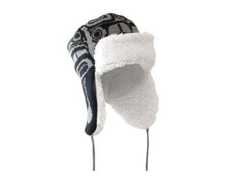 Toque with Ear Flaps - First Nations Raven design