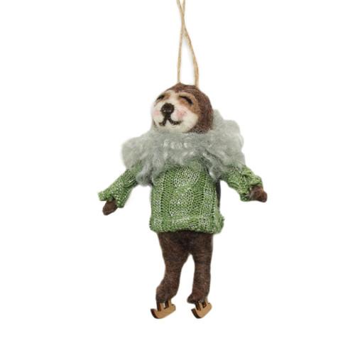 Wool sloth skating ornament