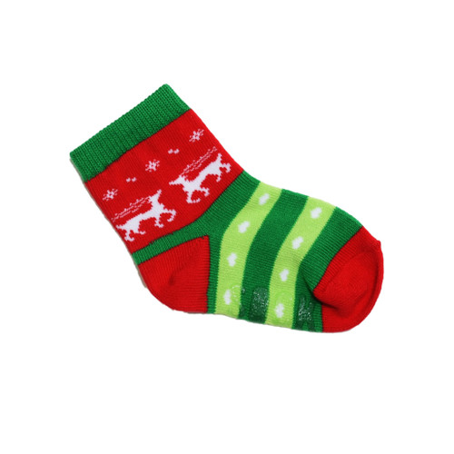 Tacky Christmas socks for Toddlers, red/Green with Reindeer