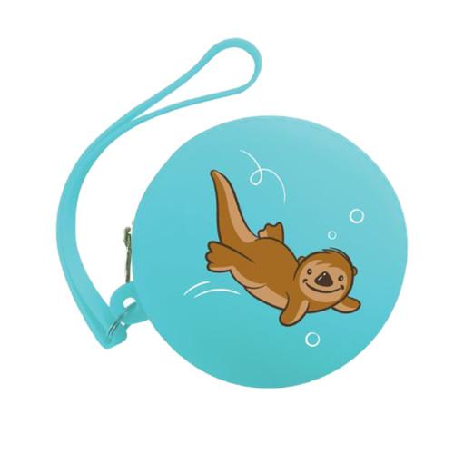 Light blue coin purse, cute otter