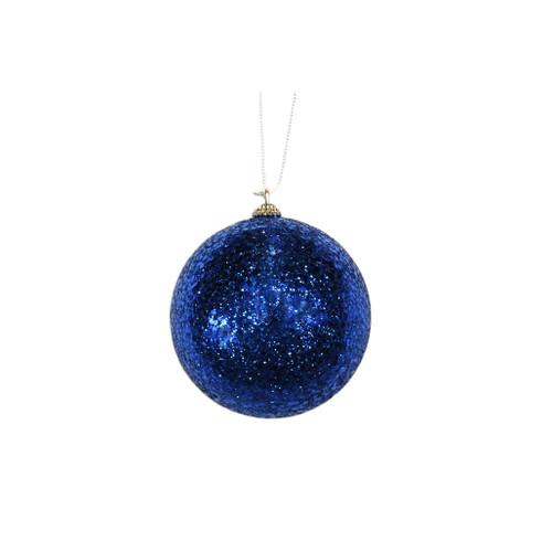 blue glitter ornament, 100mm