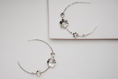 Silver Flower Power Hoop Earrings