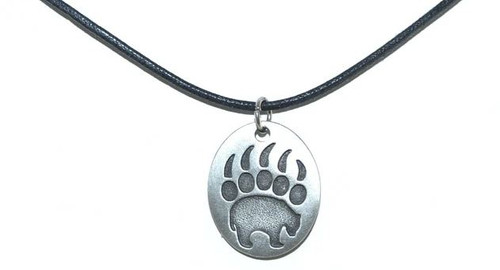 Pewter Bear Paw Necklace